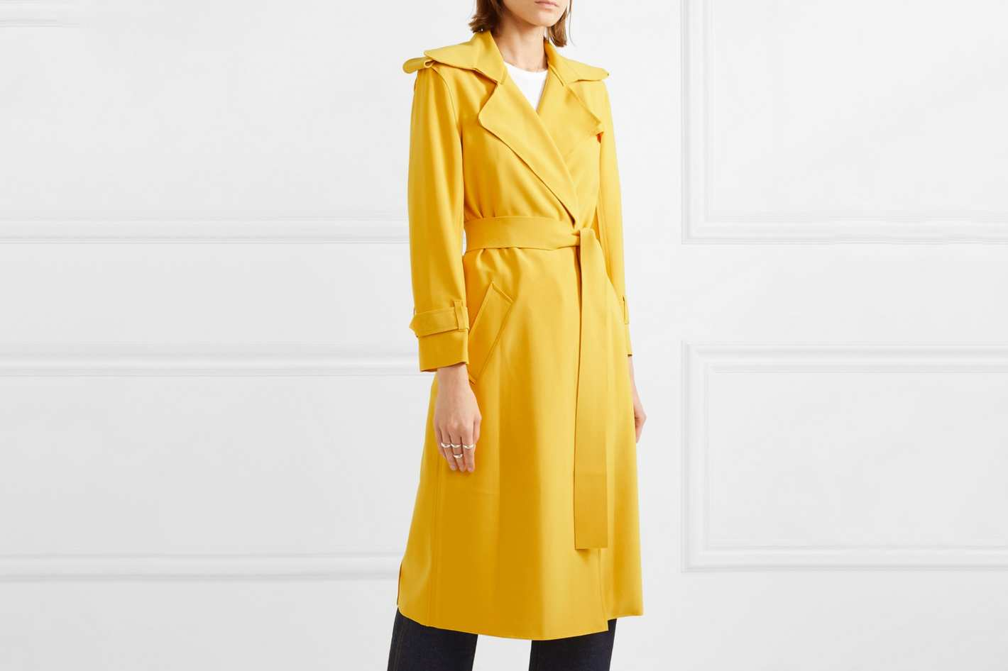 Norma Kamali Belted Cady Trench Coat