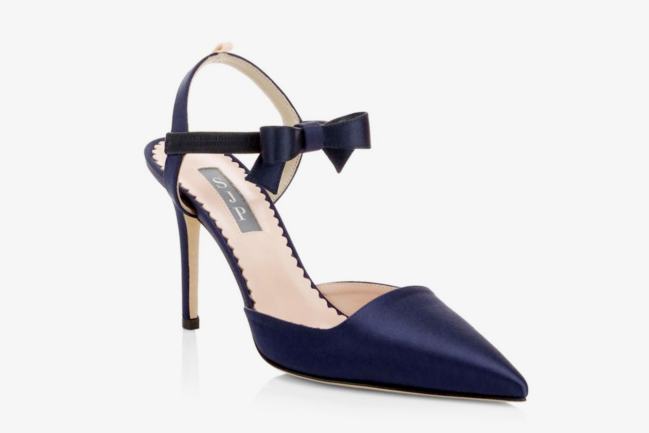 SJP by Sarah Jessica Parker Pola Bow Ankle-Strap Satin Pumps