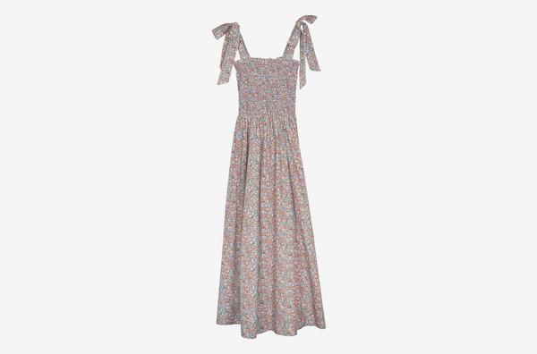 Dôen Jasmine Shirred Floral-Print Maxi Dress