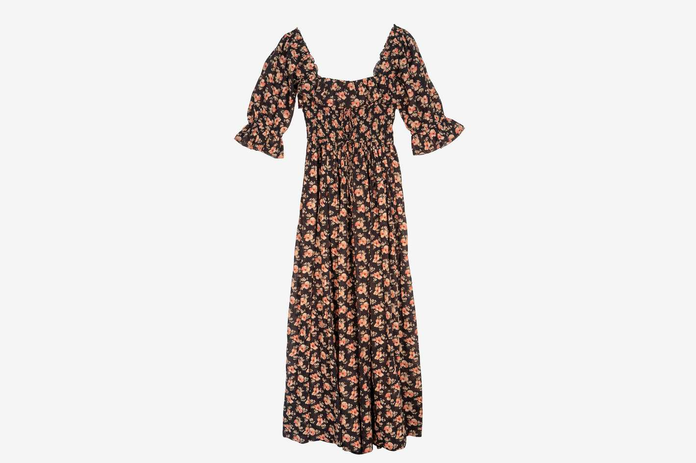 Dôen Sol Shirred Floral-Print Maxi Dress