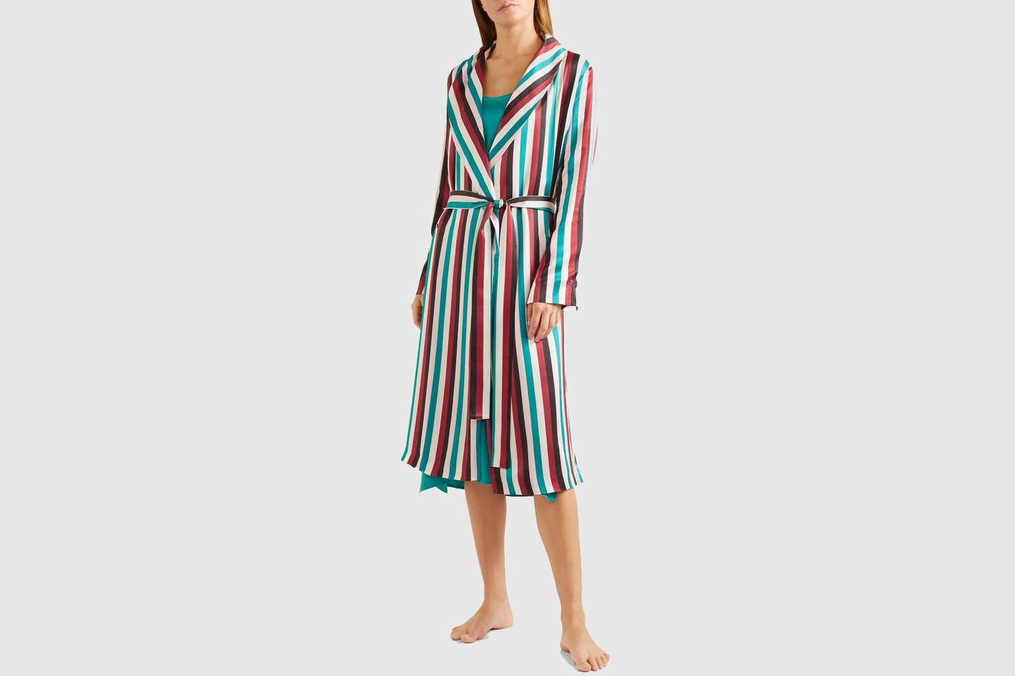 Asceno Striped Washed-Silk Robe