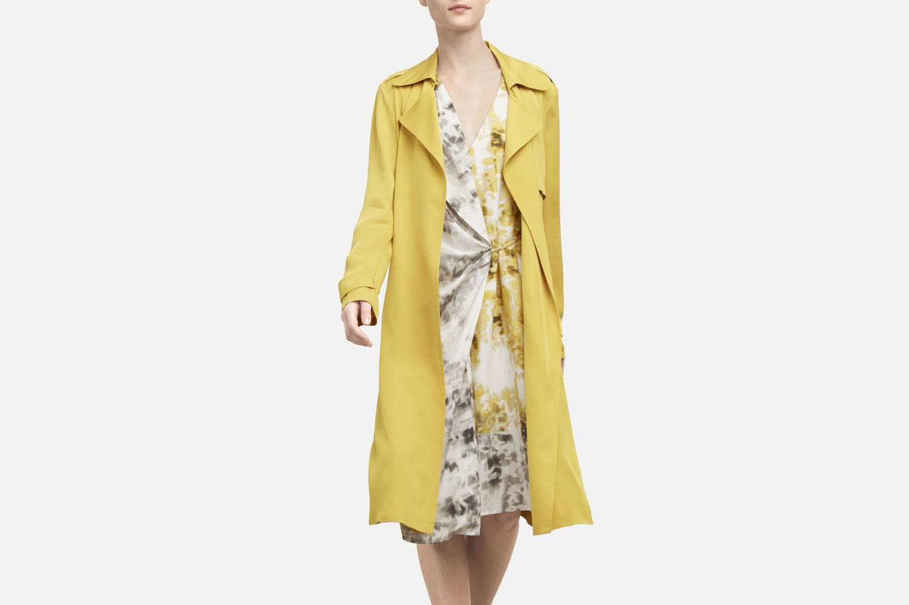 Kenneth Cole Waterfall Yellow Trench Jacket