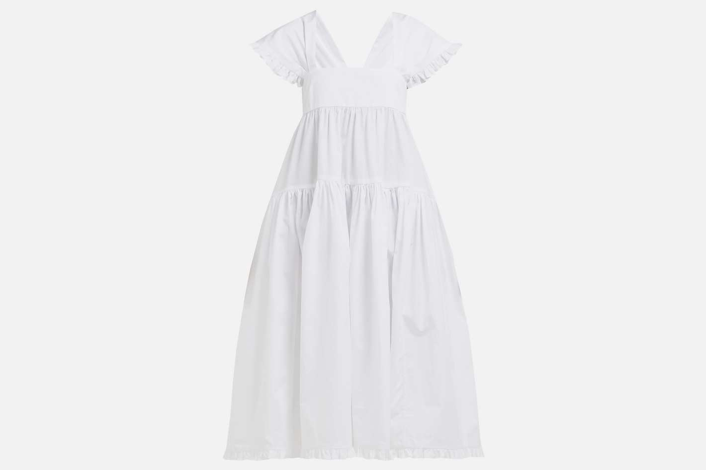 Mimi ruffled cotton-poplin midi dress