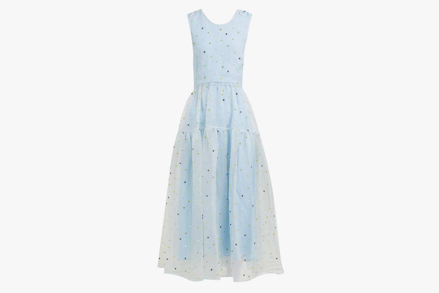 Ruth floral-beaded silk-organza midi dress