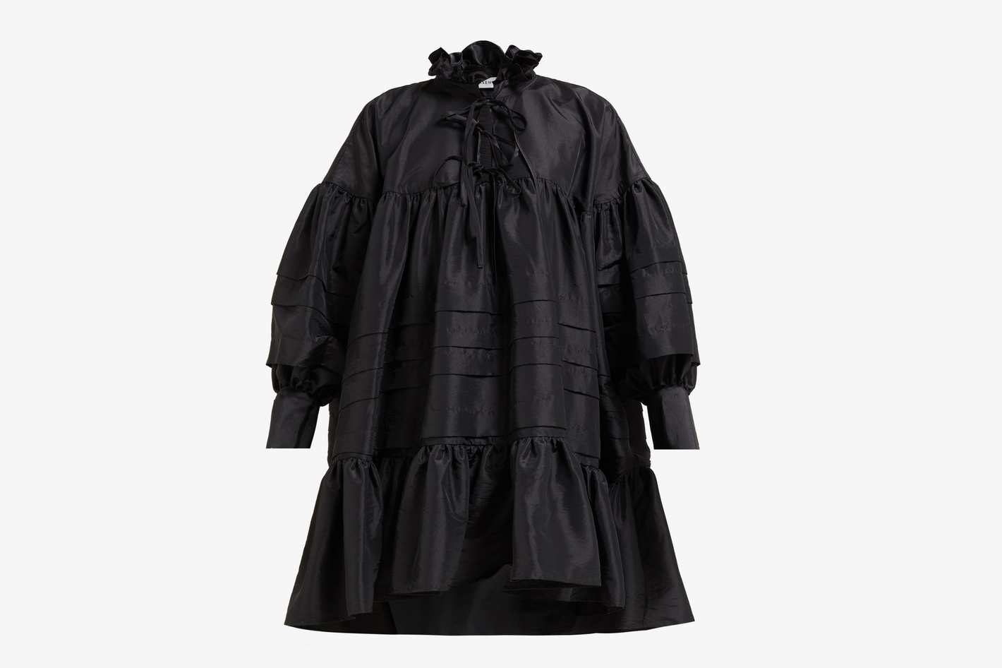 Macy ruffled-neck sateen shirtdress