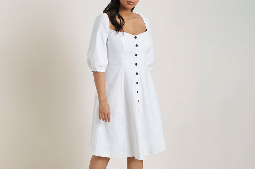 Button-Front Puff-Sleeve Dress