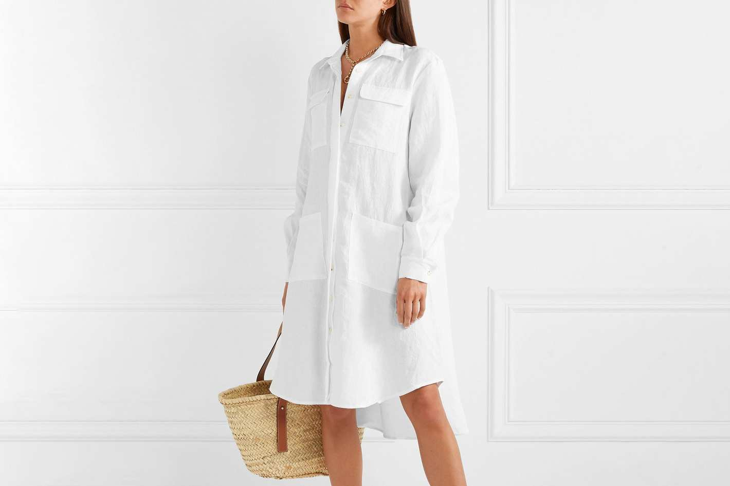 Oversize asymmetrical linen dress
