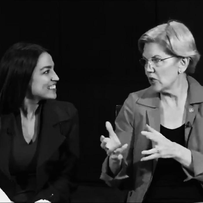 Alexandria Ocasio-Cortez and Elizabeth Warren.