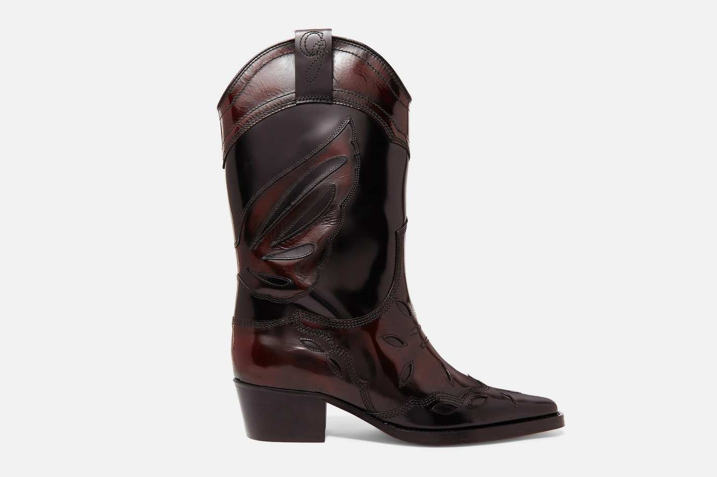 Ganni Embriodered Patent-Leather Boots
