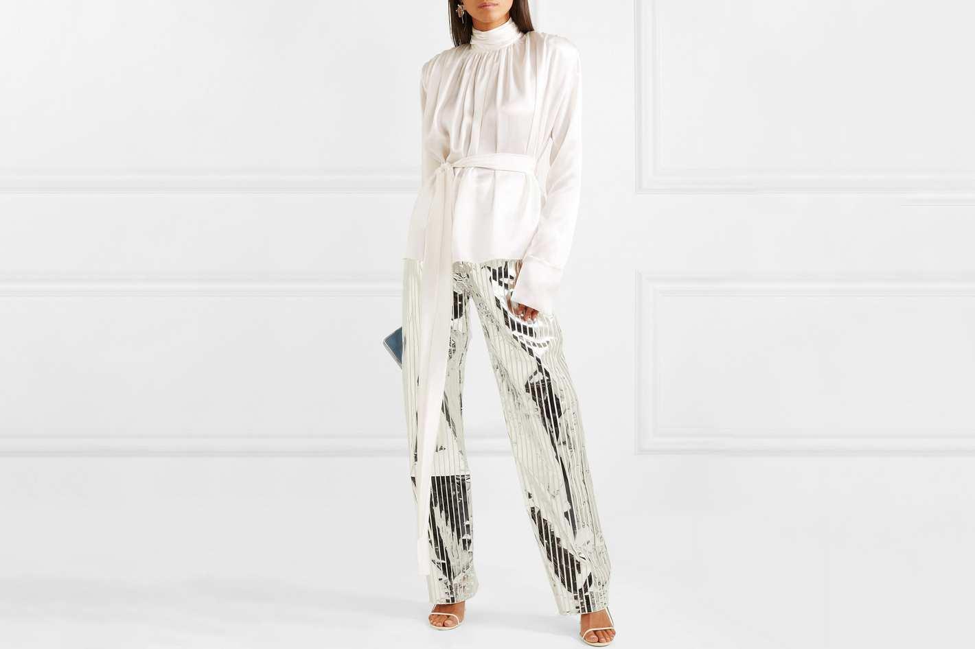 Matériel Belted Gathered Silk Blouse