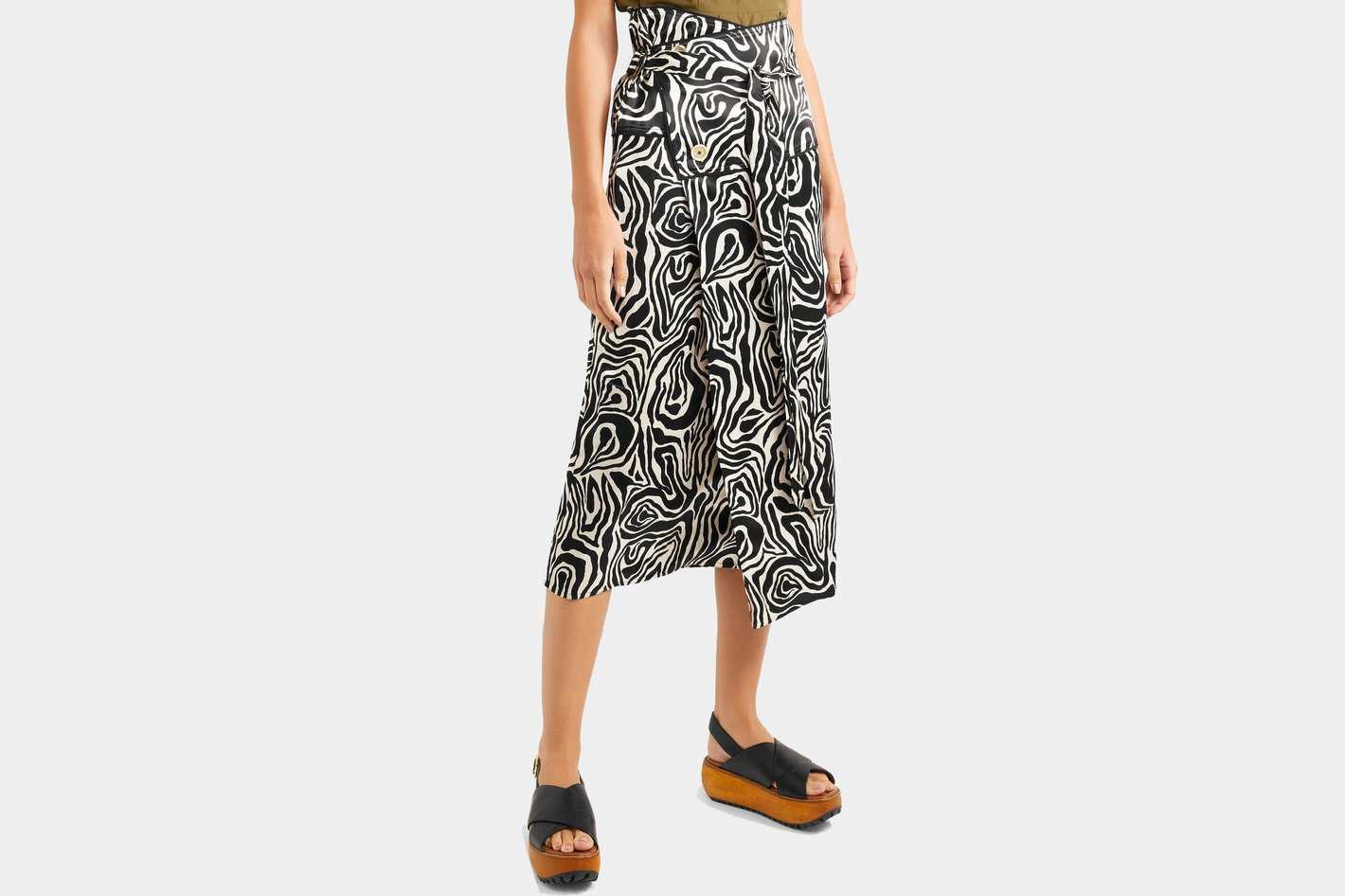 Marni Zebra-Print Crepe Wrap Skirt