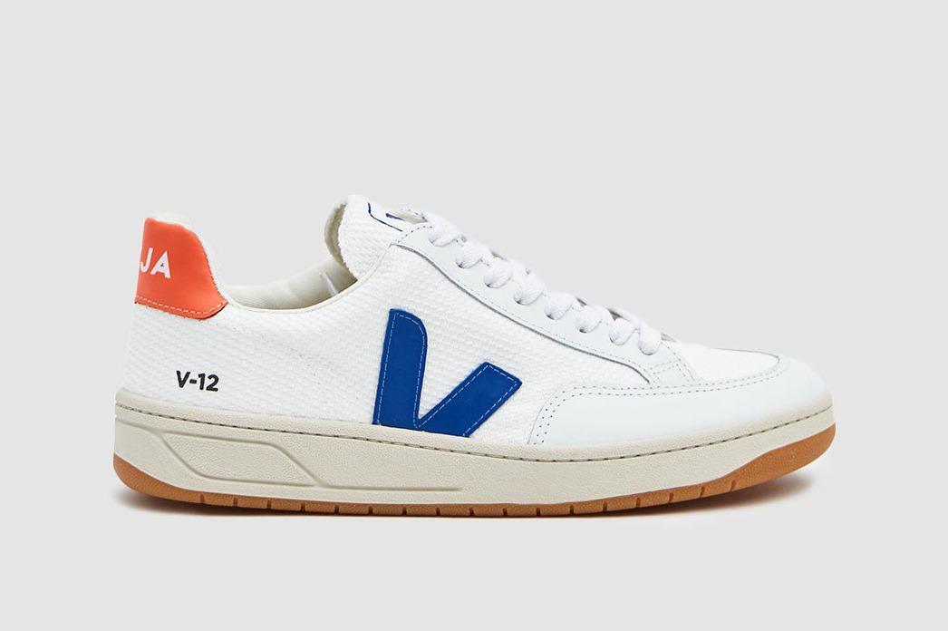 Veja V-12 B-Mesh Sneaker in White/Indigo/Orange