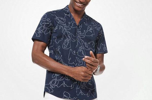 Michael Kors Slim-Fit Abstract Print Stretch-Cotton Shirt