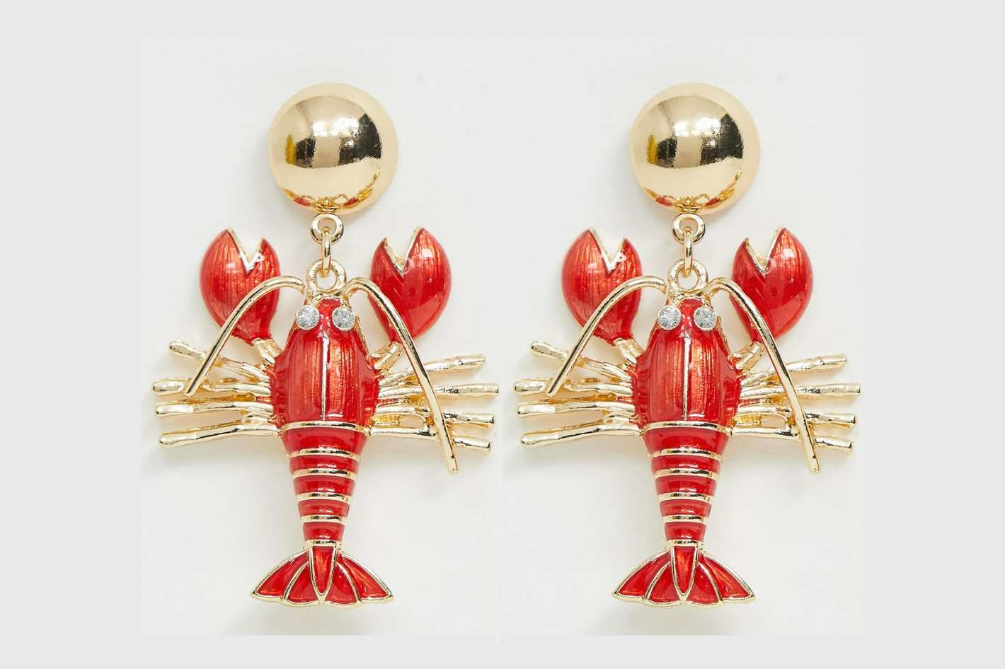 ASOS Design Earrings With Lobster Drop in Gold Tone
