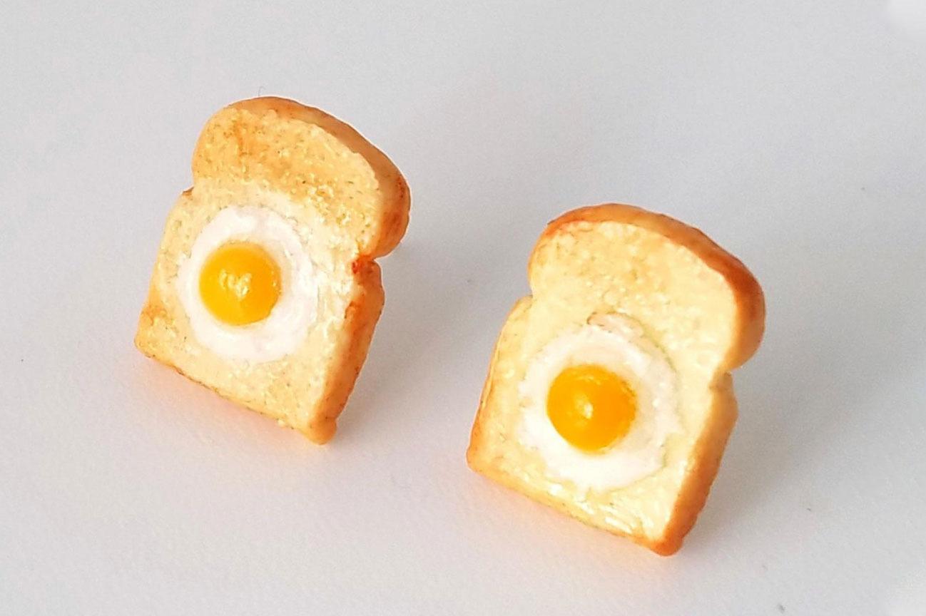 Miniature Food Earrings - Eggs on Toast