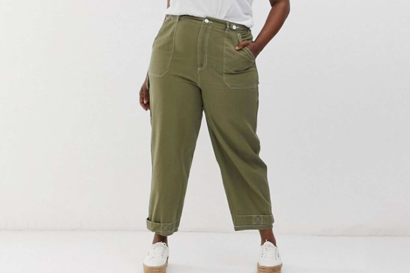ASOS DESIGN Curve utility pants with topstitching and tab detail