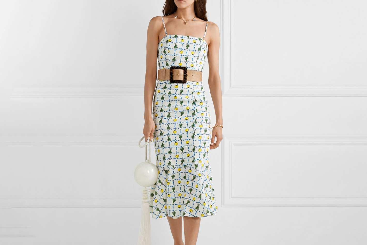 Staud Lychee Printed Linen Dress