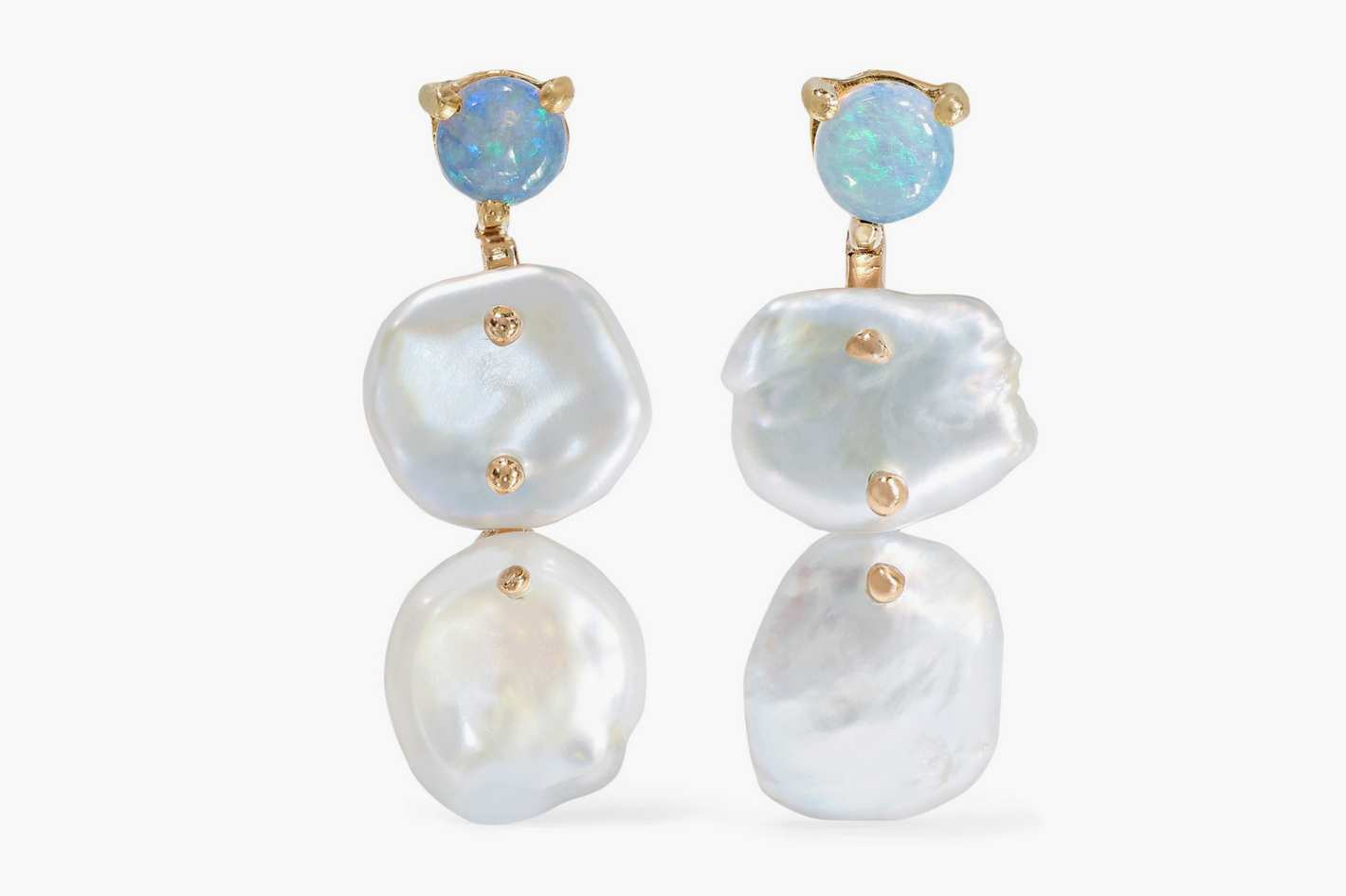 WWAKE + NET SUSTAINGold, Pearl, and Opal Earrings