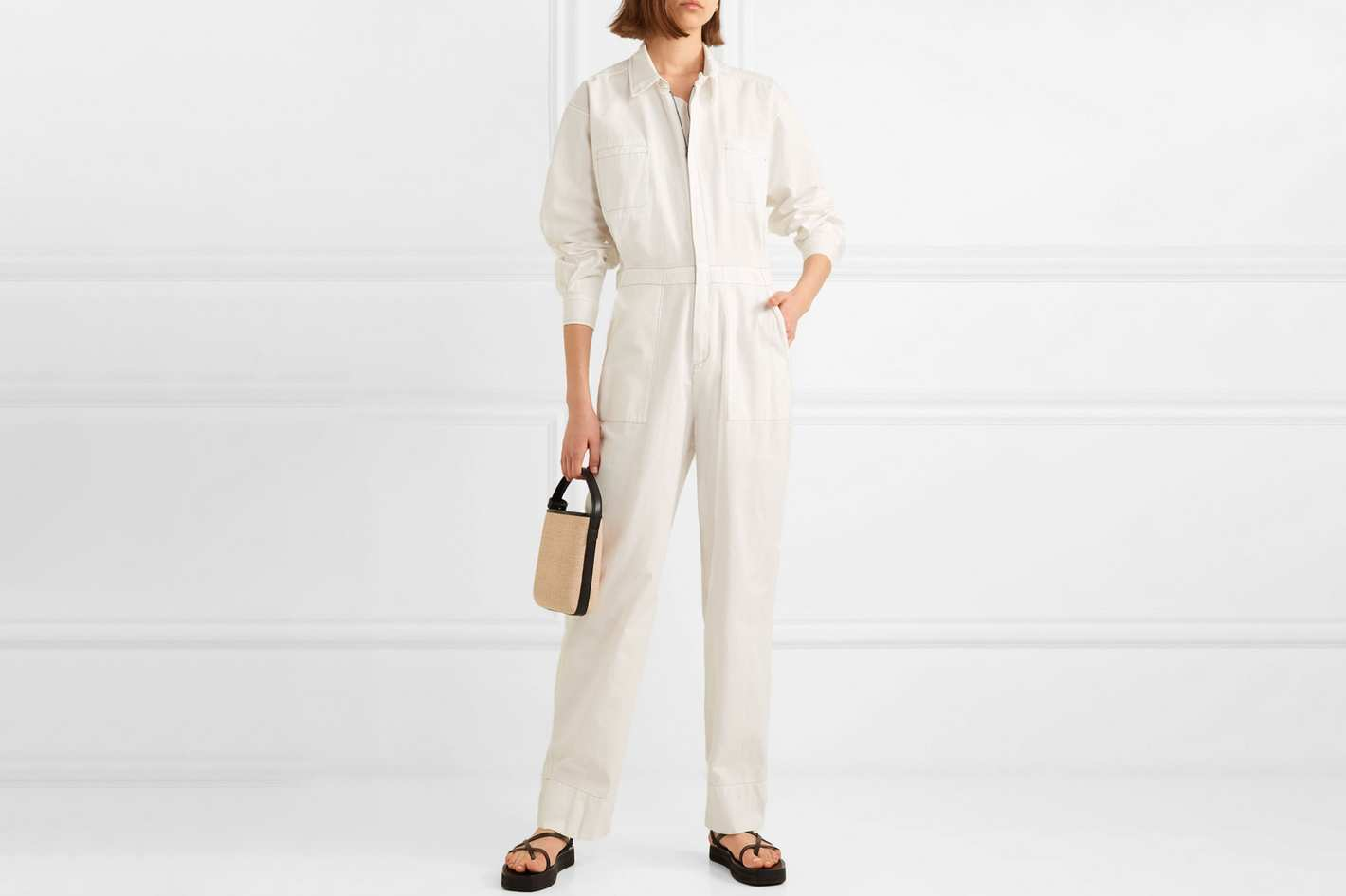Bassike + NET SUSTAIN Cotton-Canvas Jumpsuit