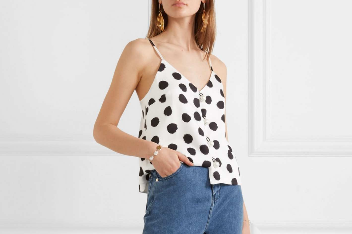 Mother of Pearl + NET SUSTAIN Polka-Dot Lyocell Camisole