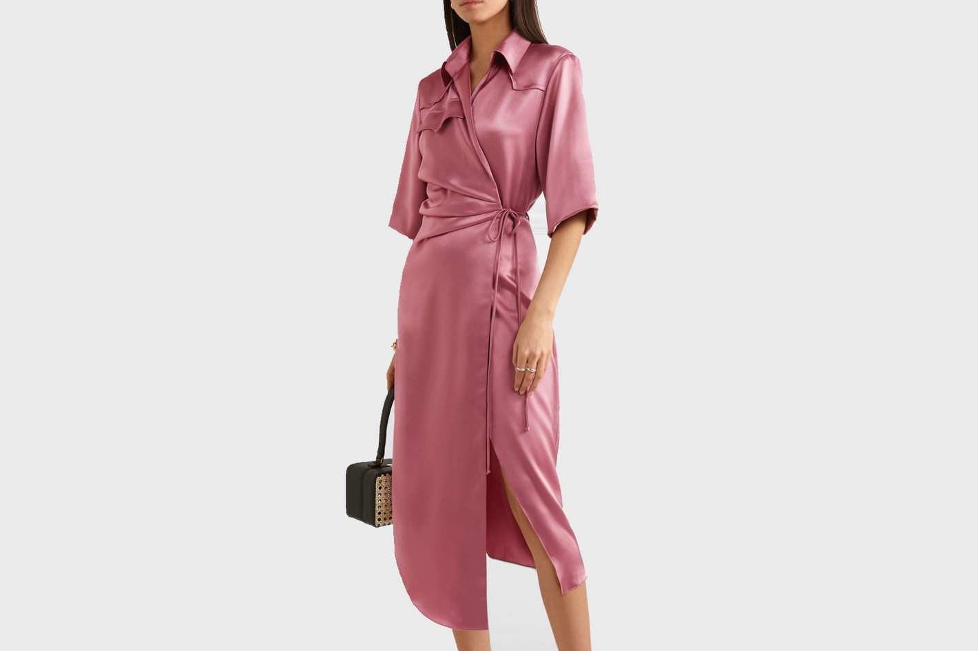 Nanushka Lais Satin Wrap Dress