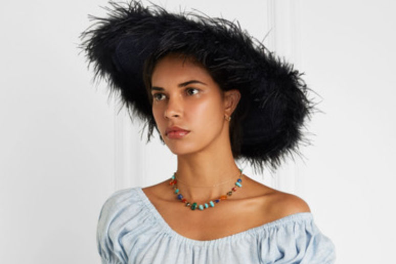 Gigi Burris Capri Feather-trimmed Straw Sunhat