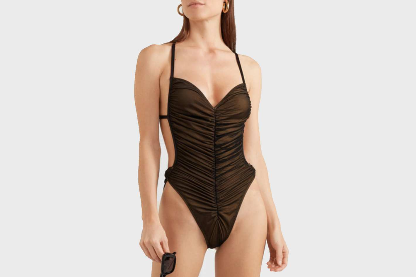 Norma Kamali Butterfly Mio Ruched Stretch-tulle Swimsuit