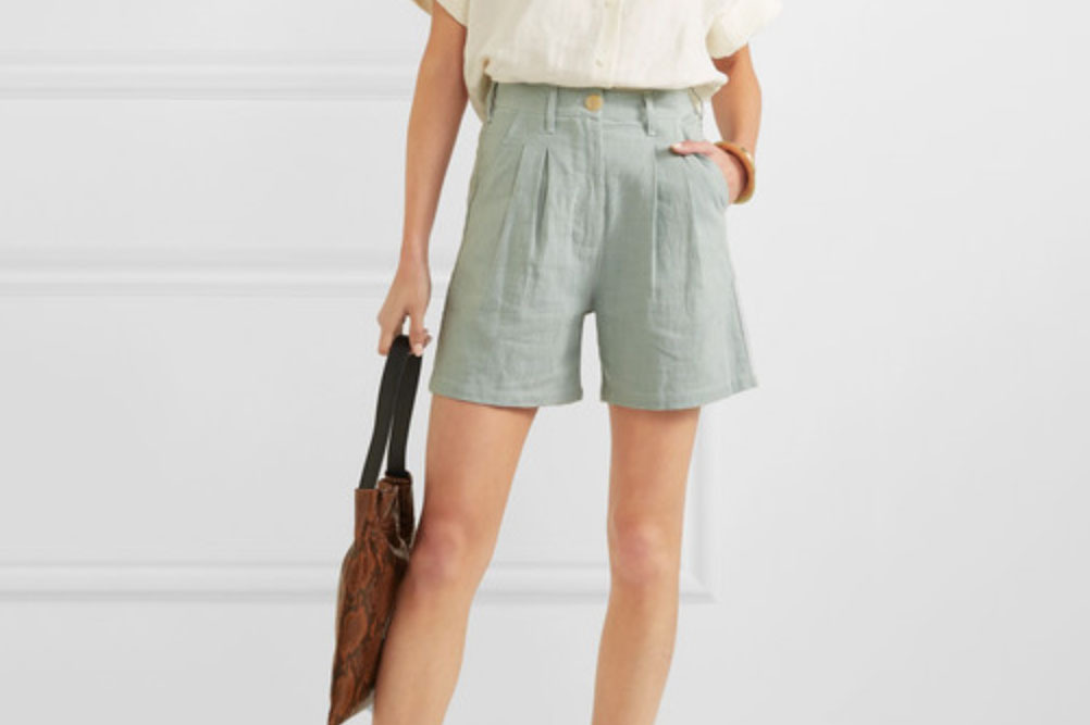 L.F.Markey Pleated Linen and Cotton Shorts