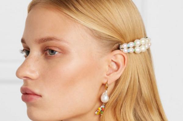 Eliou Elba silver-tone, pearl and bead hairclip