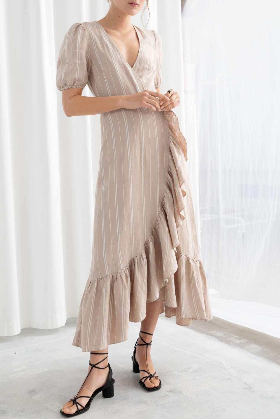 Ruffled Linen Wrap Dress