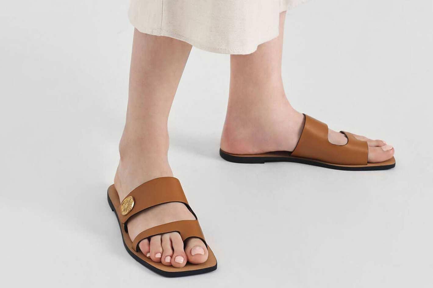 Charles & Keith Gold Stud Detail Slide Sandals
