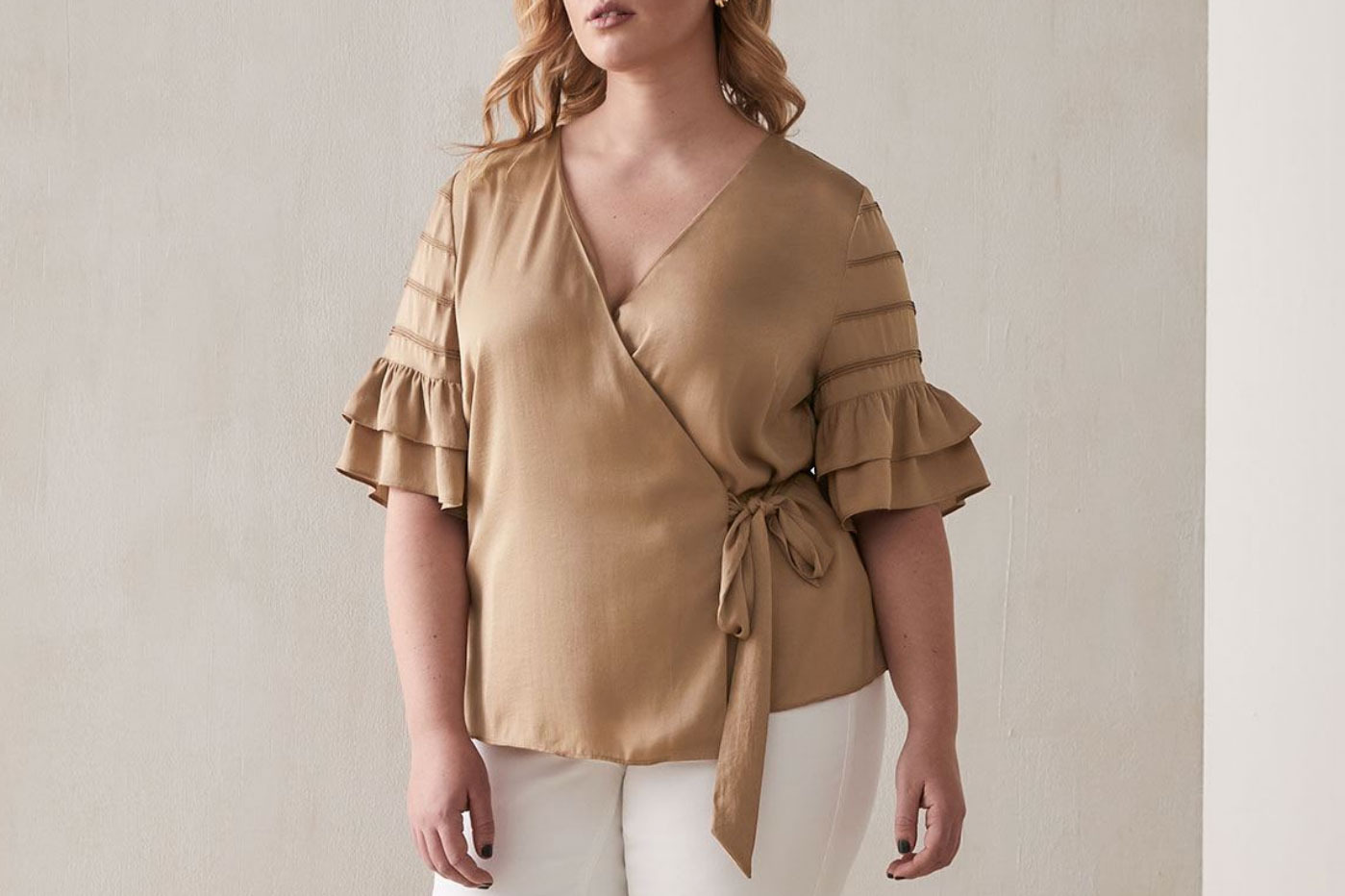 Addition Elle Wrap Blouse With Flutter Sleeves