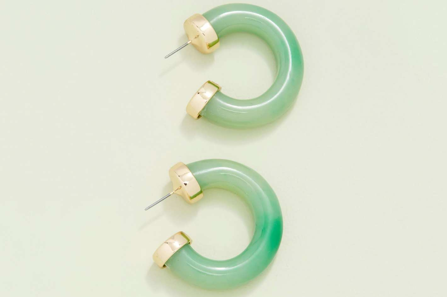 Kenneth Jay Lane Jade Small Thick Hoop Earring