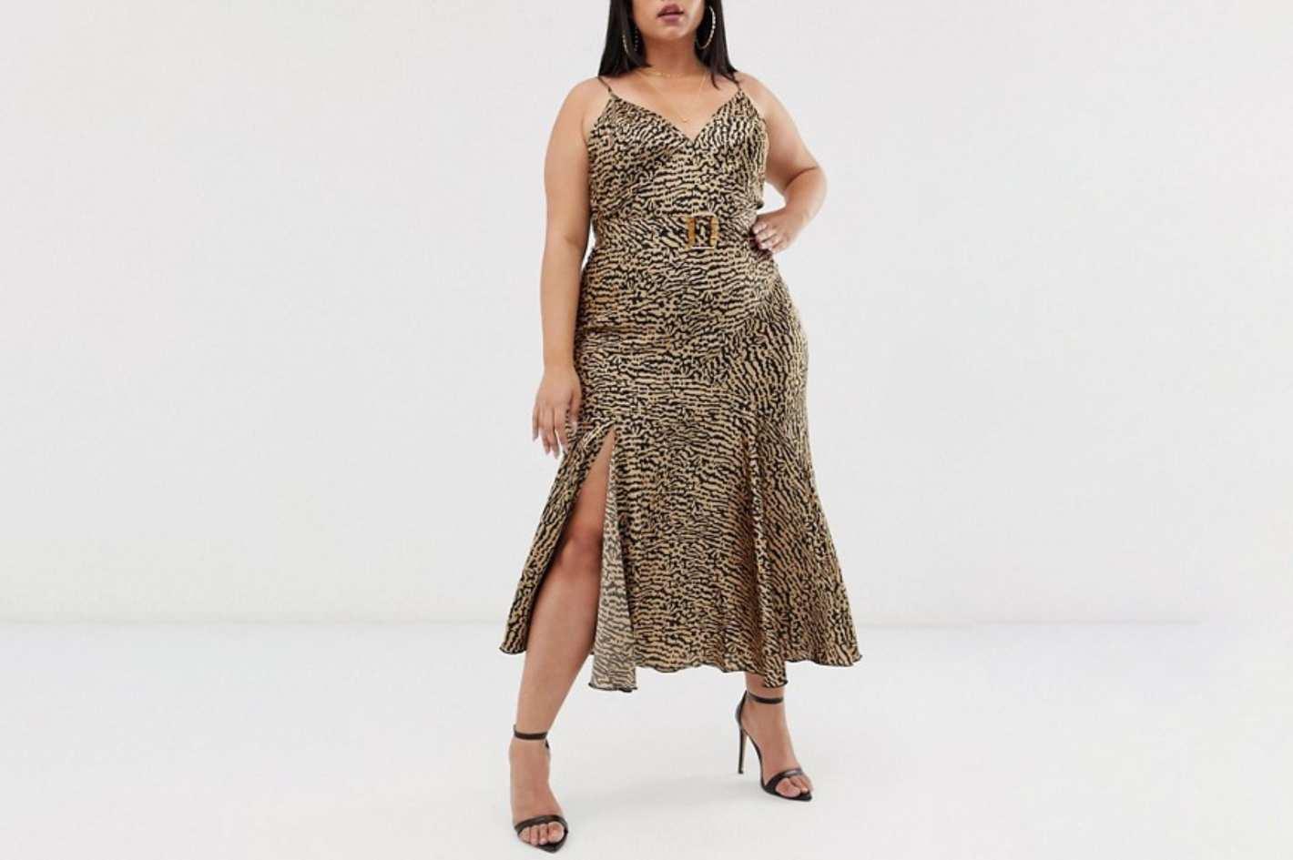 ASOS Curve Bias Cut Maxi Slip Dress in Leopard Print with Bamboo Belt