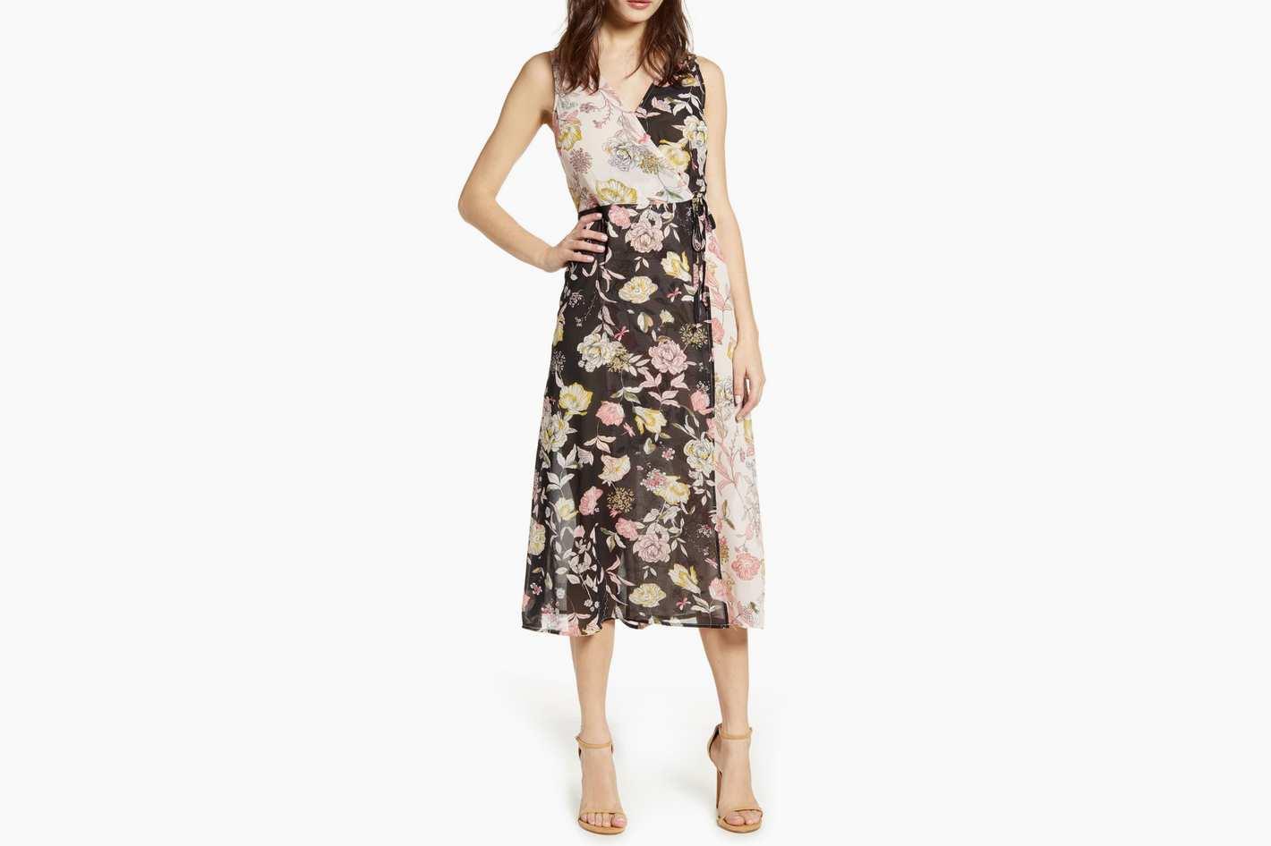 Leith Floral Mix Faux Wrap Dress