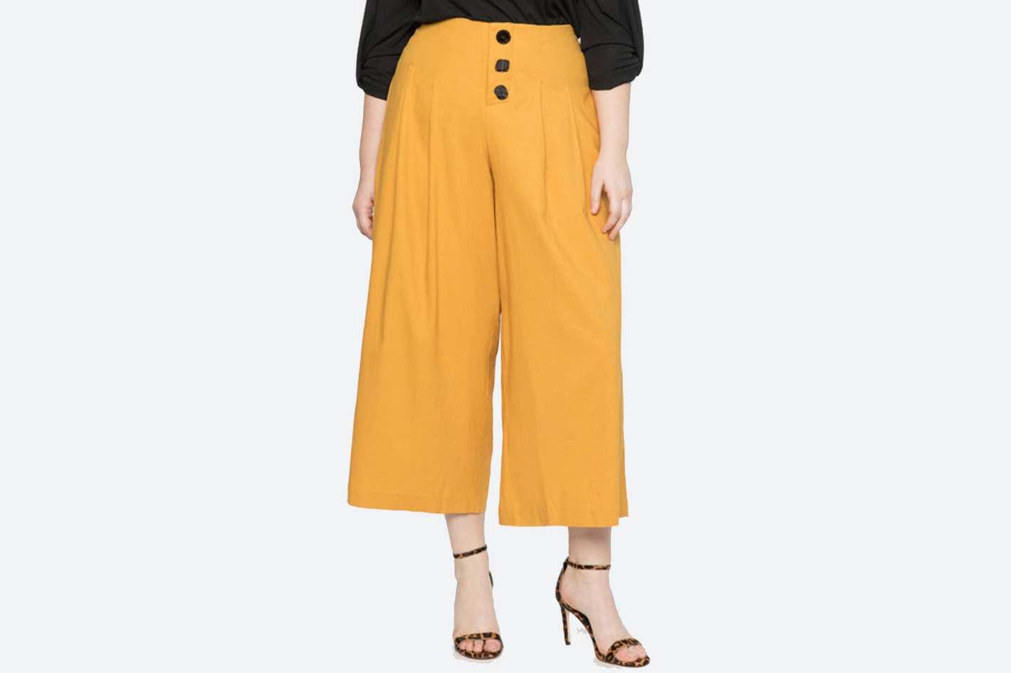Eloquii Pleated Crop Pants