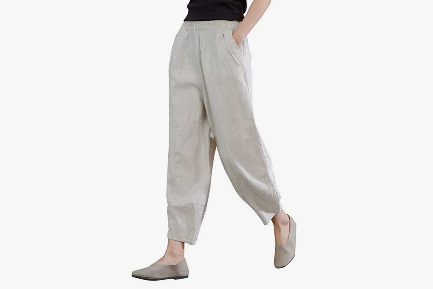 IXIMO Women's 100% Linen Pants Relax Fit Lantern Cropped Tapered Pants Trousers with Elastic Waist