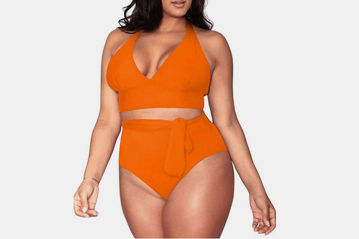 Sovoyontee Plus Size High Waisted Swimsuit in Neon Orange