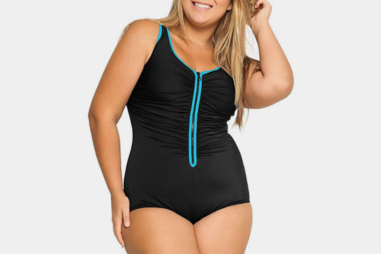 DELIMIRA Plus Size Built-in Cup Zip Front One Piece Swimsuit in Multicolored #3