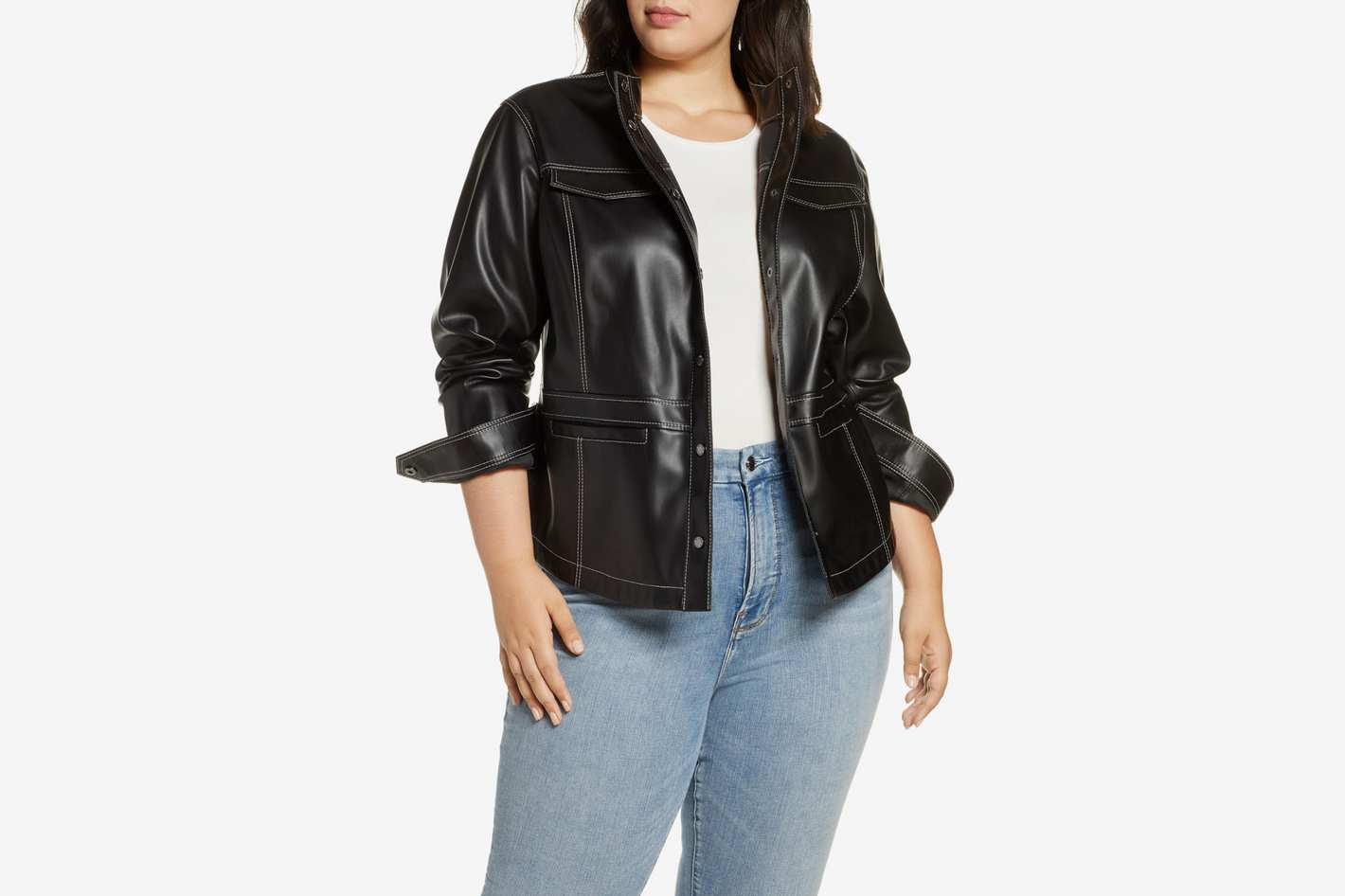 Sam Edelman Faux Leather Shirt Jacket