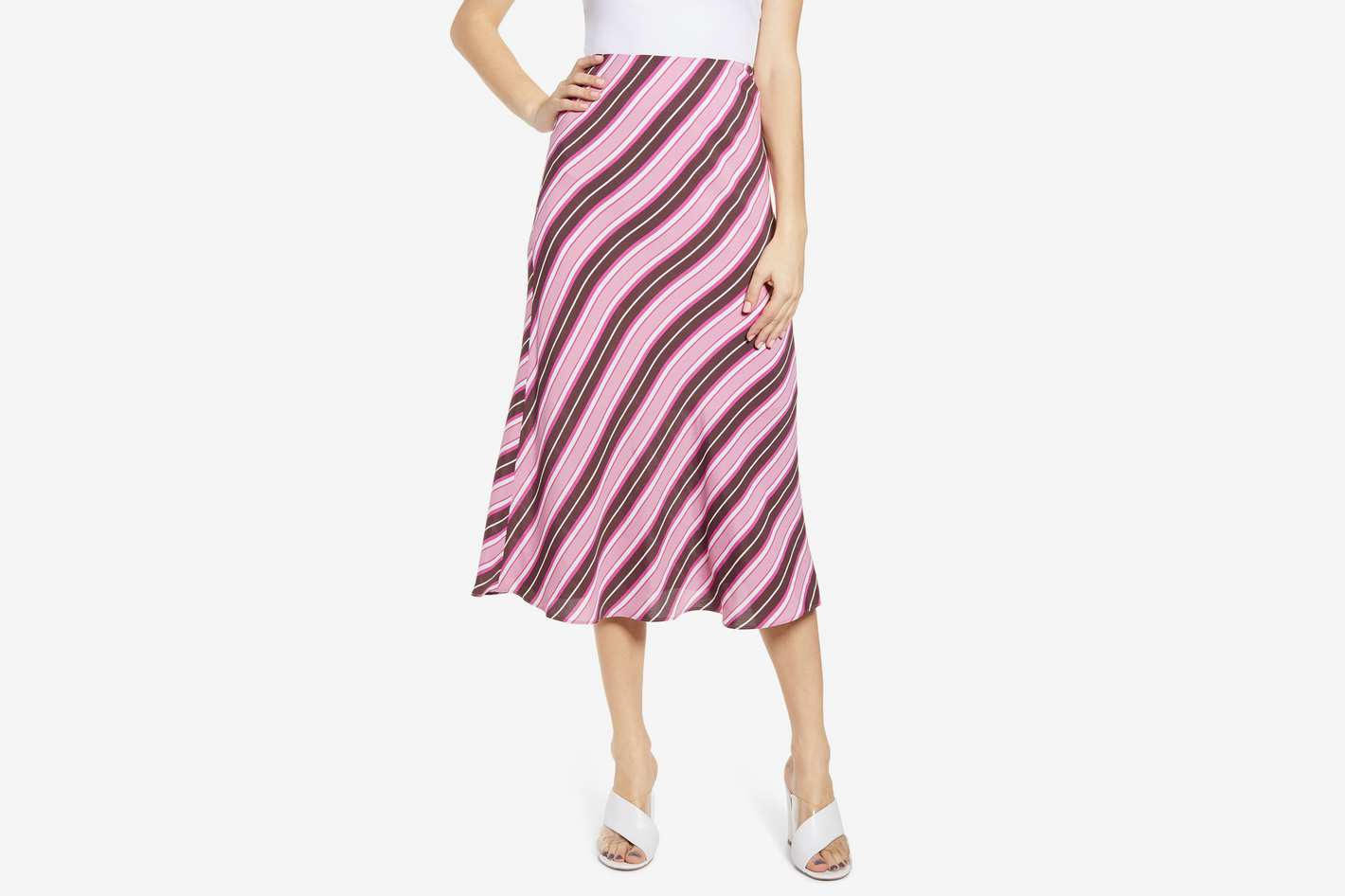 Leith Bias Cut Midi Skirt