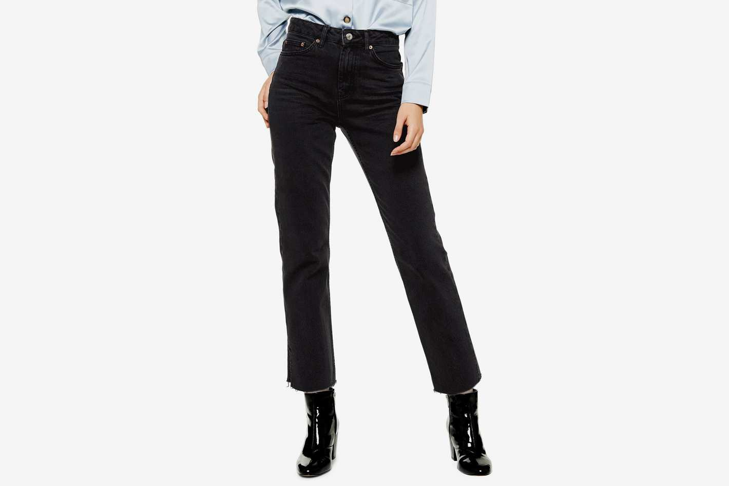 Topshop High Waist Split Hem Straight Leg Jeans