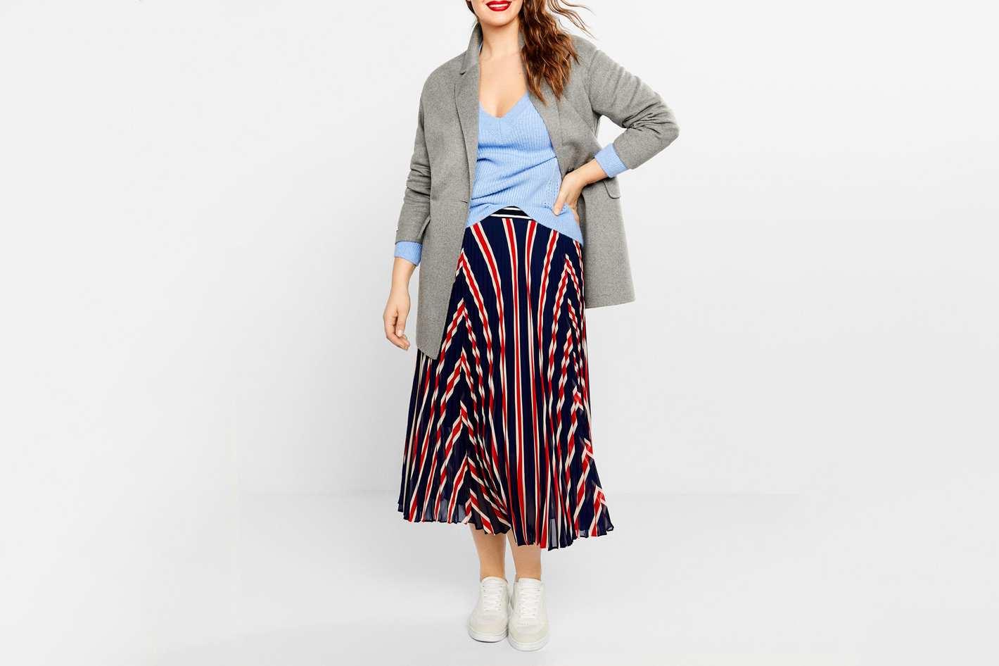 Violeta Stripes pleated skirt
