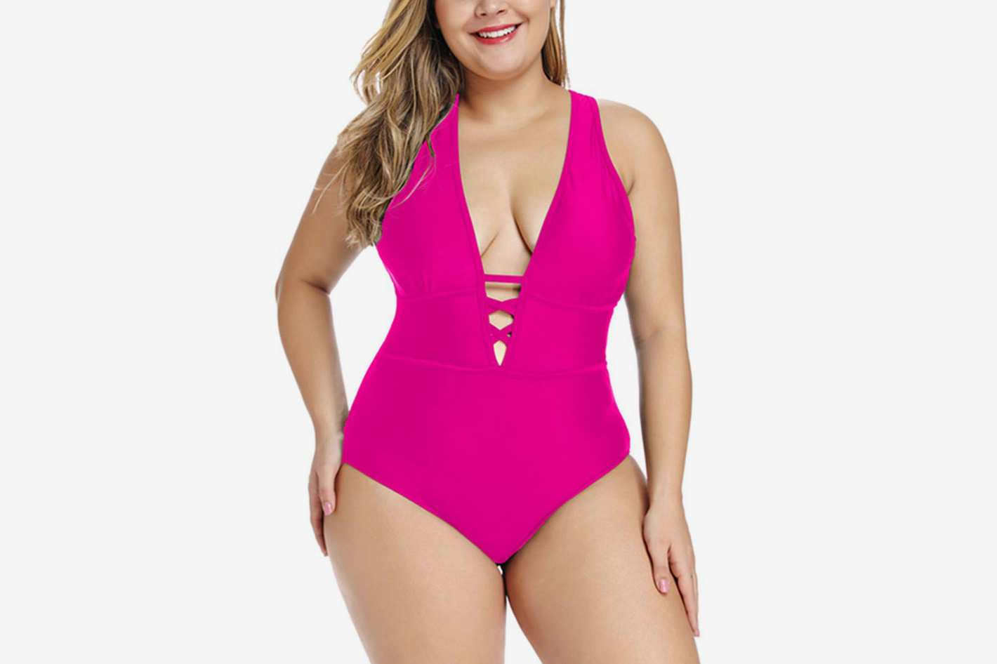 FlatterMe Plunge Neckline with Lace Up Detail One Piece Swimsuit