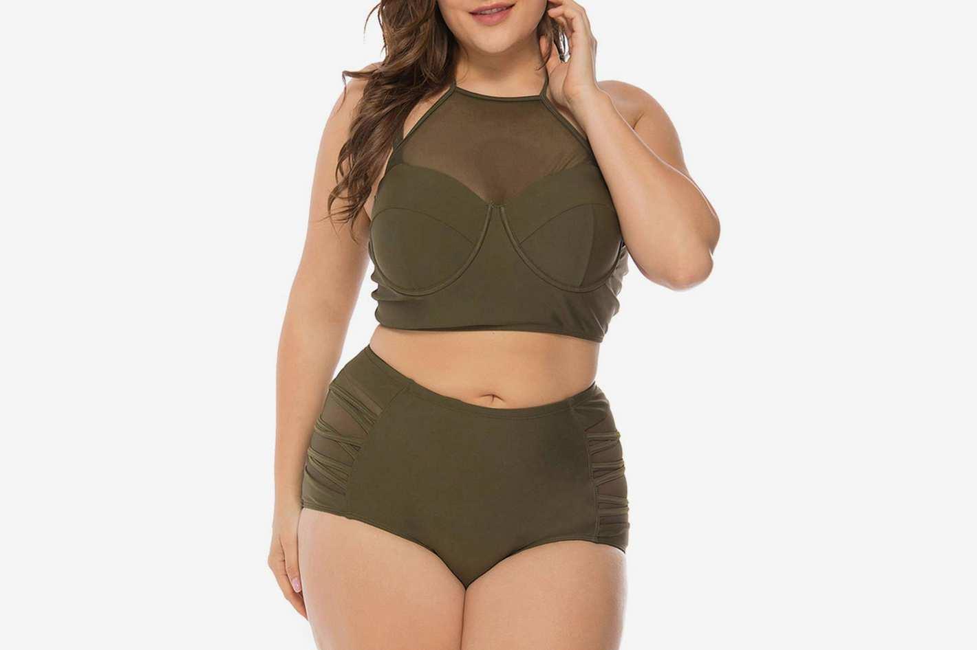 FeelinGirl Plus Size Mesh Two Piece Swimsuit