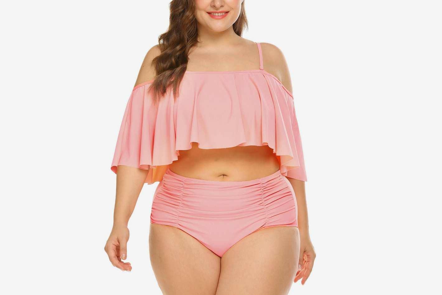 IN'VOLAND Plus Size High Waisted Ruffled Flounce Bikini