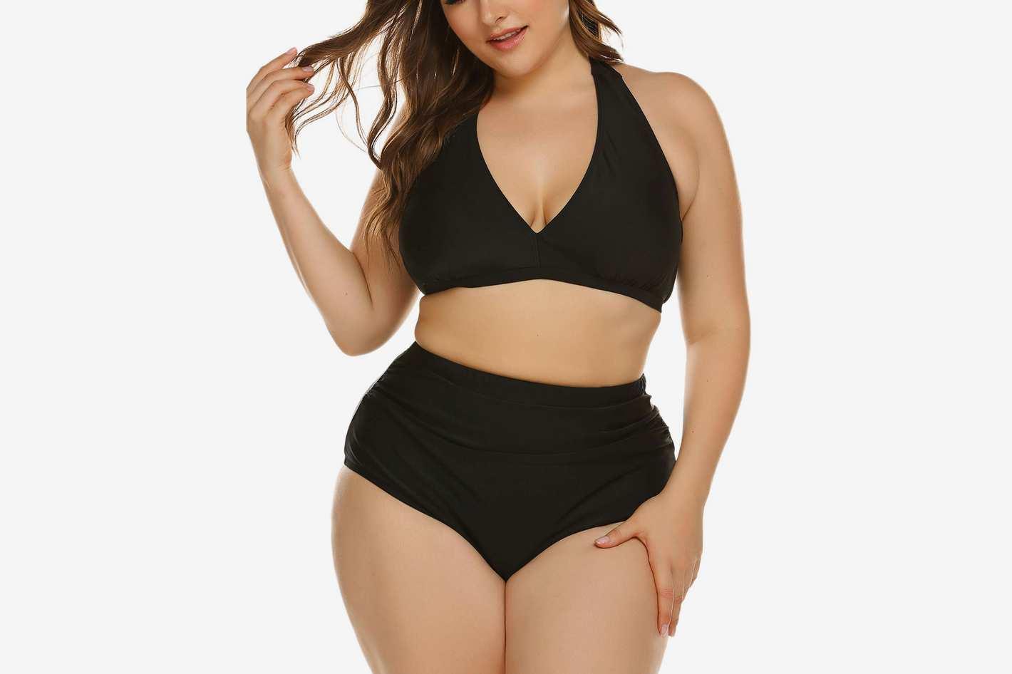 IN'VOLAND Plus Size High Waisted Halter Vintage Bikini Set