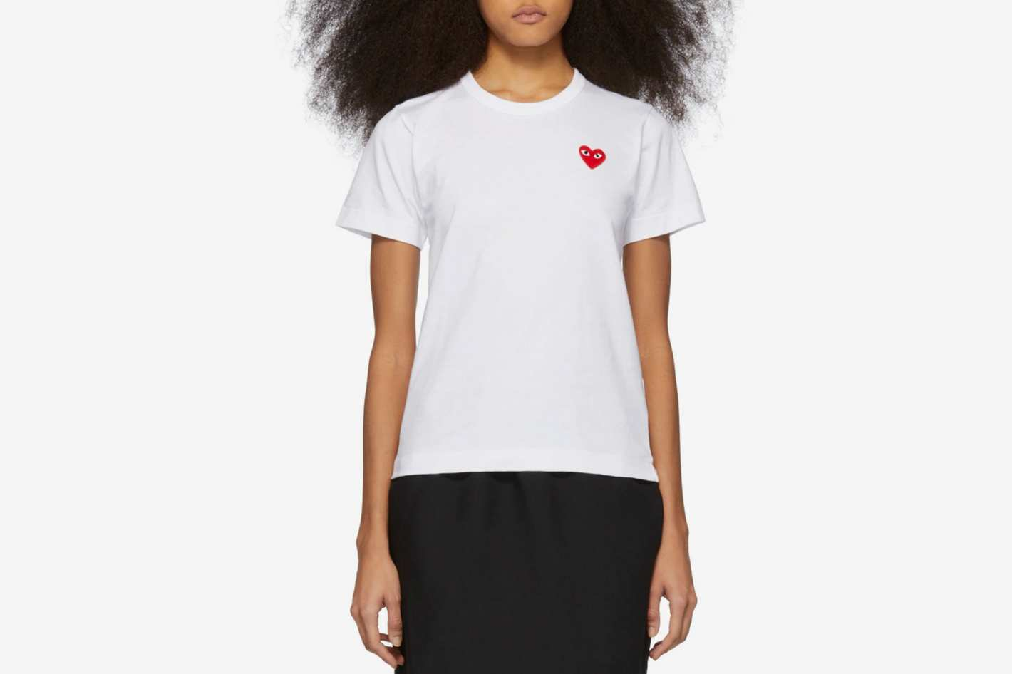 SSENSE Comme des Garcons Play White & Red Heart Patch T-Shirt