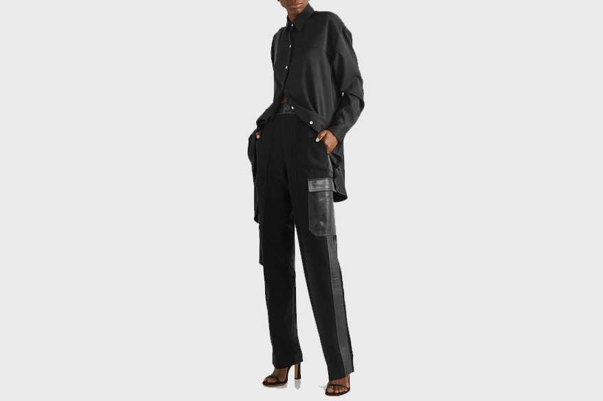 Peter Do Leather and satin-trimmed pants