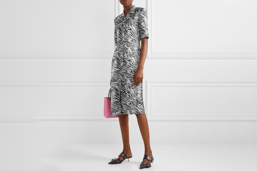 Commission Zebra-print satin dress